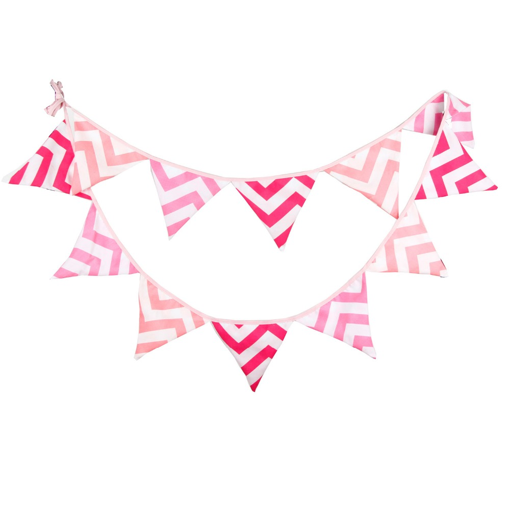 12 Flags 3.3M Colorful Handmade Fabric Bunting Flags and Banner baby girl party supply Baby Shower Garland Decoration(China (Mainland))
