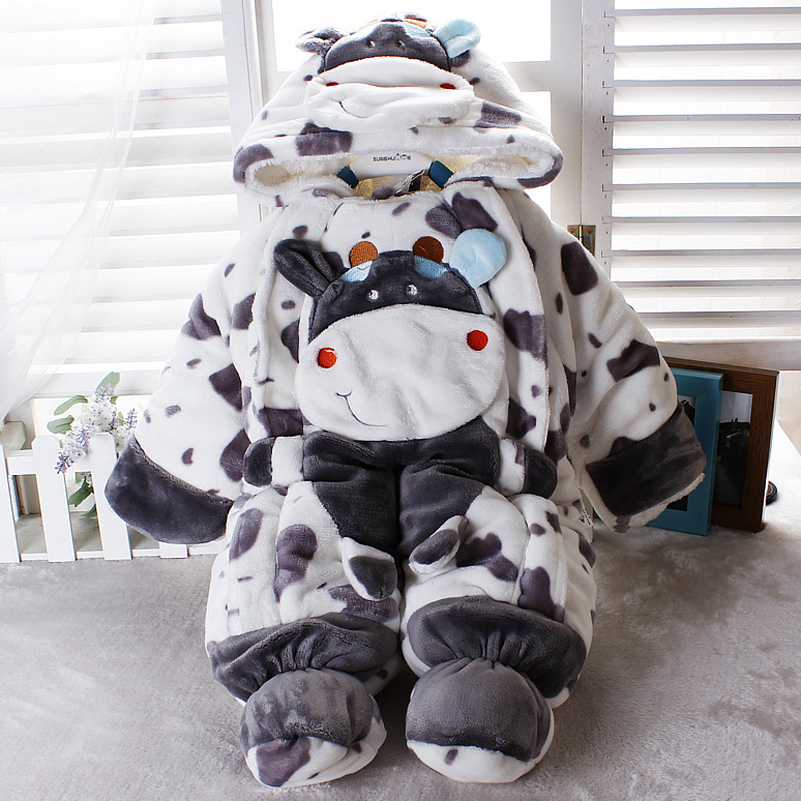Children Winter rompers baby Infant body suit  boy and girl  toddler thicken velvet  jumpsuit cartoon baby clothing <br><br>Aliexpress