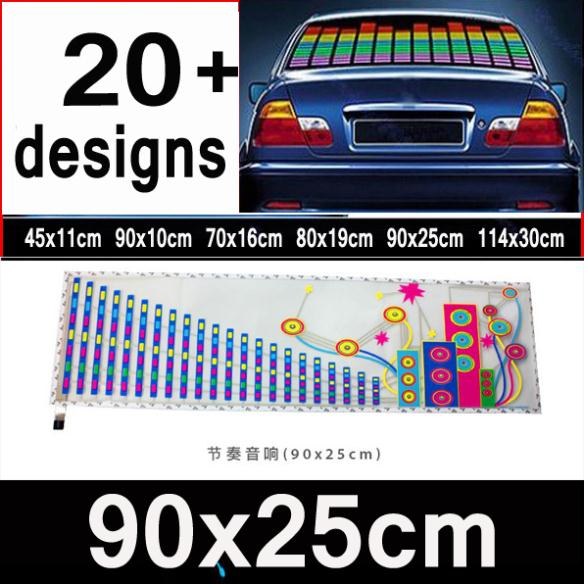 90x25CM New Style Colourful Flash Car Sticker Rhythm LED EL Sheet Light Lamp Sound Music Activated Equalizer Beauty #f(China (Mainland))
