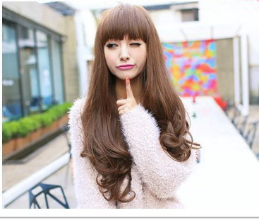 New Fashion Brand 4 Colors Wig Women's Long Curly Hair Wigs 68cm Long Briding Hair Clip In Wigs(China (Mainland))