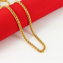 2015 New Fashion,Colorfast 46/51cm vacuum plated 24K Gold Necklace, gold horsewhip chain for men,Free Shipping,B037(China (Mainland))