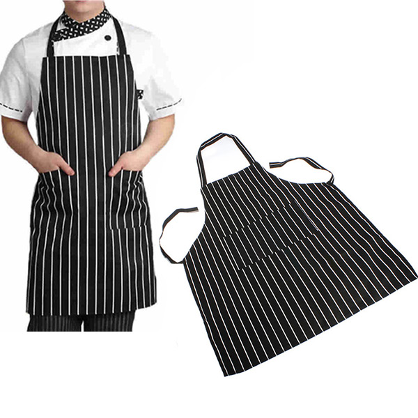 Durable Useful Adjustable Adult Black Stripe Apron with 2 Pockets Chef Resturant Necessary Home Essential(China (Mainland))