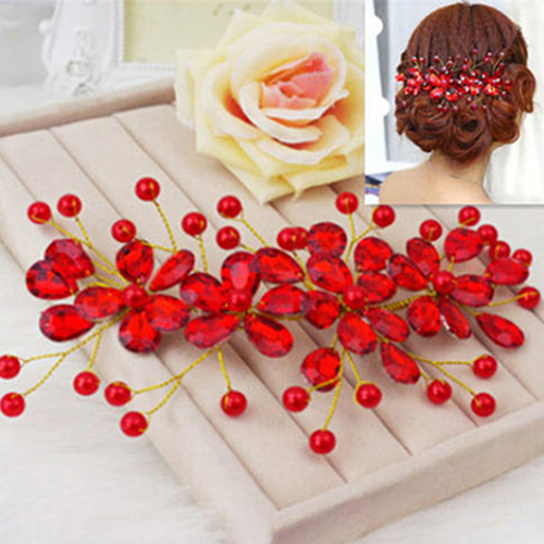 Women's Red Flower Wedding Bridal Party Accessary Handmade Hair Pin Clip Jewelry B9BY(China (Mainland))