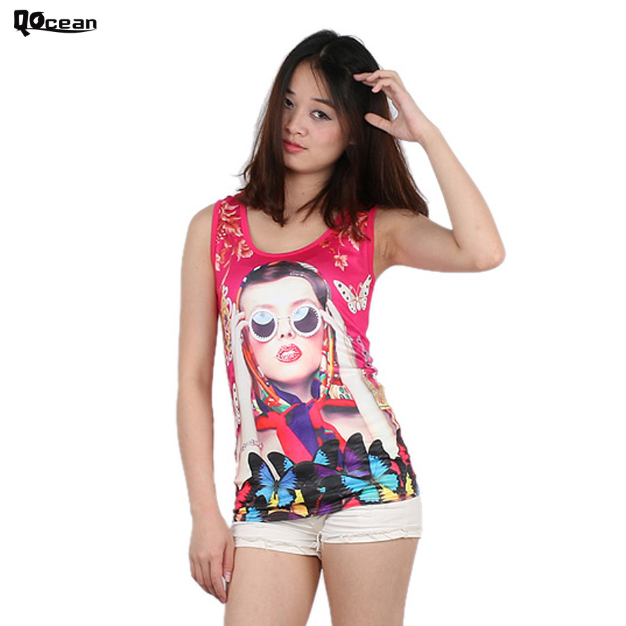 Summer Tops for Women Sexy Net Tank Top Cartoon Print Pattern Personality Bustier Nylon Camisoles Sports Clothes DT005(China (Mainland))