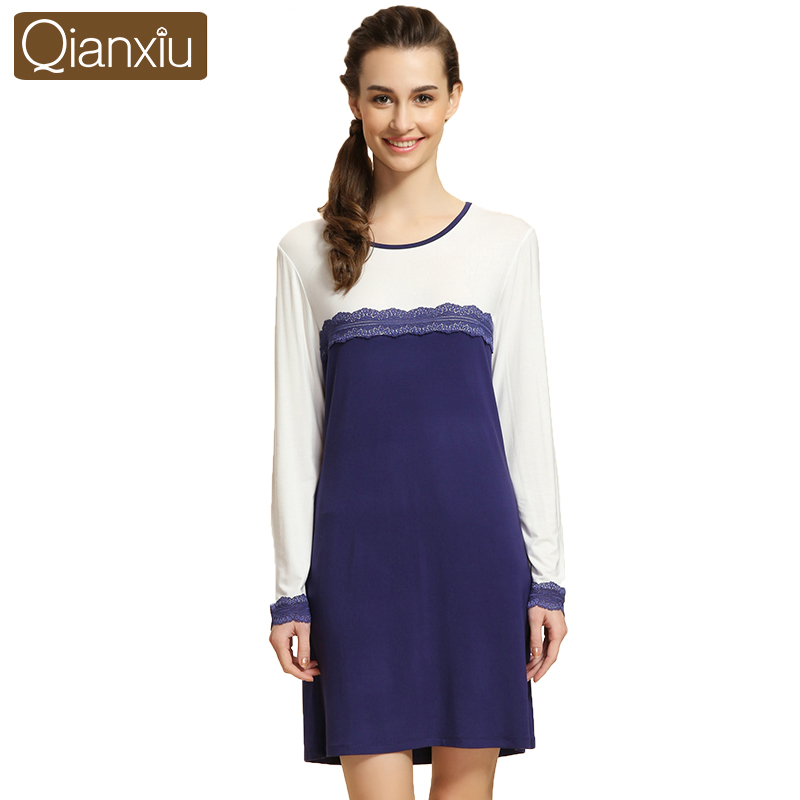 Qianxiu Nightgown For Girl Knitted Modal Fabric Nightgown Ladies Sleepshirts Sexy Lace Nightwear(China (Mainland))