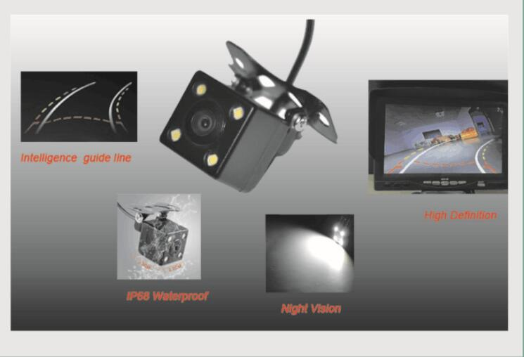 Steering Wheel parking camera w moving parking line with intelligent parking guidelines sensor built to detect car direction(China (Mainland))