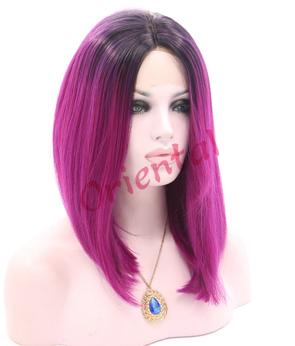 Oriental heat resistant short black to red  ombre straight glueless BOB synthetic lace front wig for black women<br><br>Aliexpress