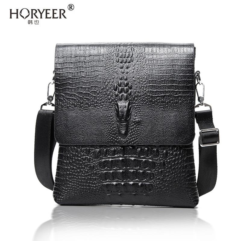 HORYEER famous brand handbag 2016 Vertical leather men bag business casual alligator shoulder Messenger bag crocodile grain bag(China (Mainland))