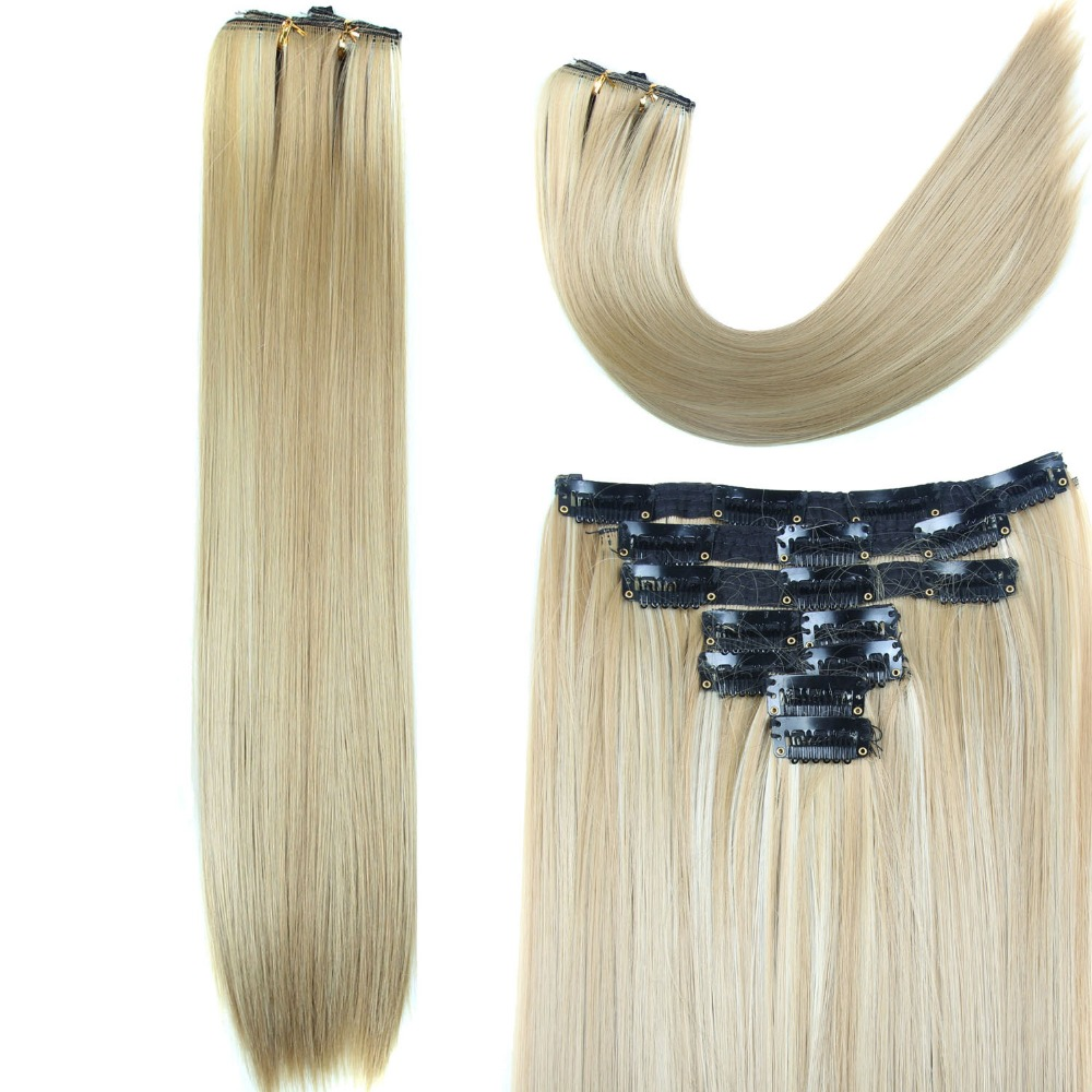 140g Free Ship Long Clip in Hair Extension half full head real natural Straight Clip in False Hair Pad Synthetic Hair extension<br><br>Aliexpress