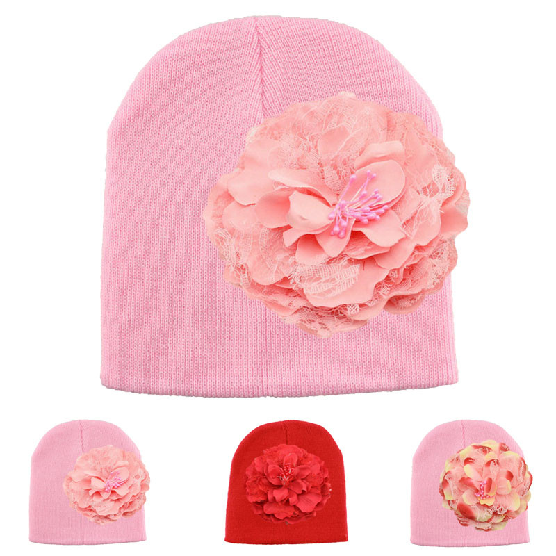 New Arrival Fashion Large Peony Handmade Knitted Baby Hat Winter Bonnet Enfant Baby Cap Kids Beanie Hats(China (Mainland))