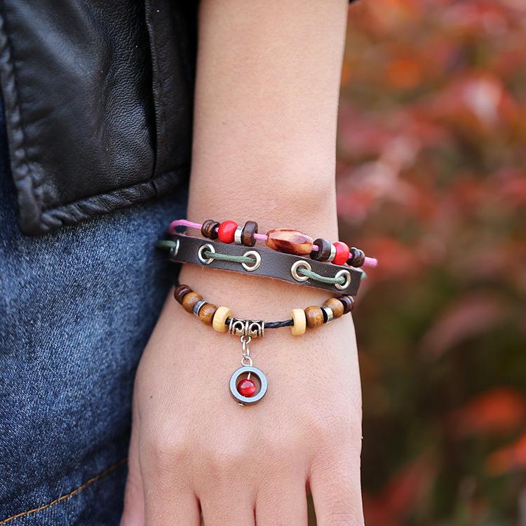 Lovely Real Leather Charms Pendants Retro Beaded Bracelet bracelets & bangles Adjustable size Women 2015 - Alice jewelry world store