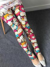 2015 Autumn Women Leggings High Elastic Cartoon Print Milk Silk Slim Flora pants Fitness Sport leggings Gothic Roupa Mujer(China (Mainland))