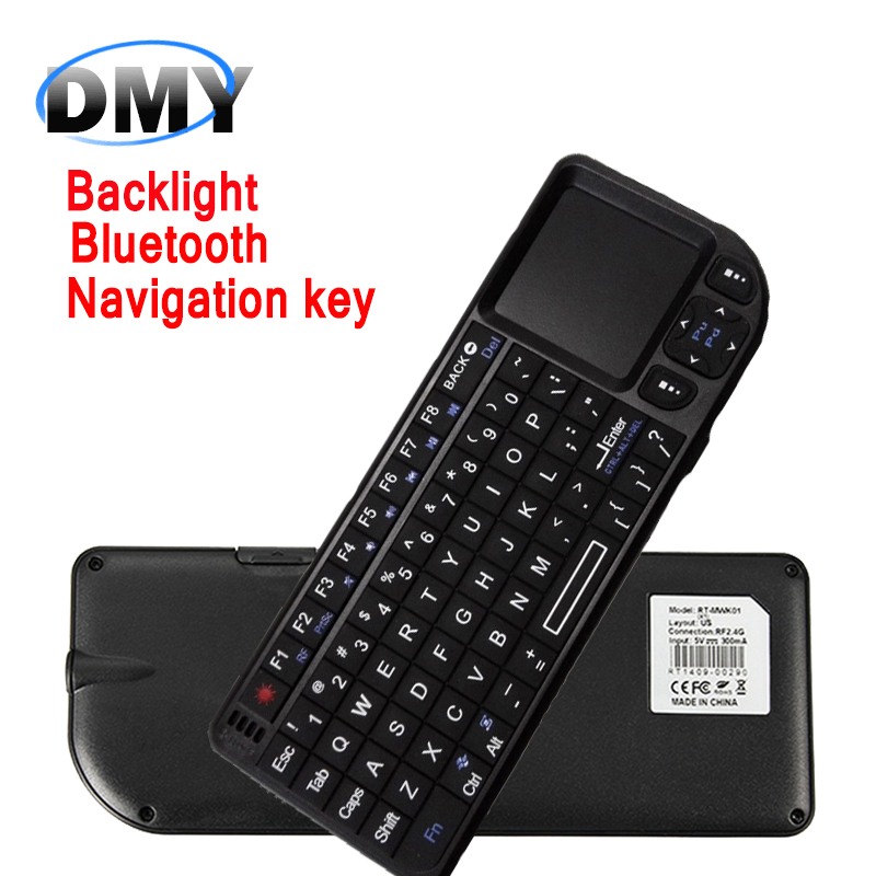 Backlight Bluetooth QWERTY full-function Mini keyboard Air Mouse with Touchpad Remote Control keyboard For Android TV Box /PC(China (Mainland))