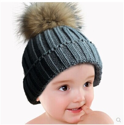 cute toddler winter hats natural real raccoon fur pompom beanie cap knitted crochet kid winter hat with ball top(China (Mainland))