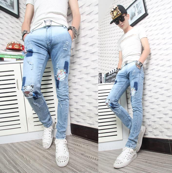 Фотография Spring fashion blue youth england straight jeans mens pant man denim trousers hole patch beggar slim personalized european style