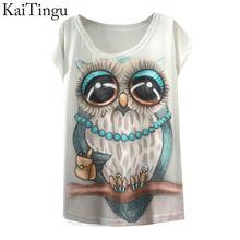 2015 New Fashion Vintage Spring Summer T Shirt Women Clothing Tops Blouse Animal Owl Print T