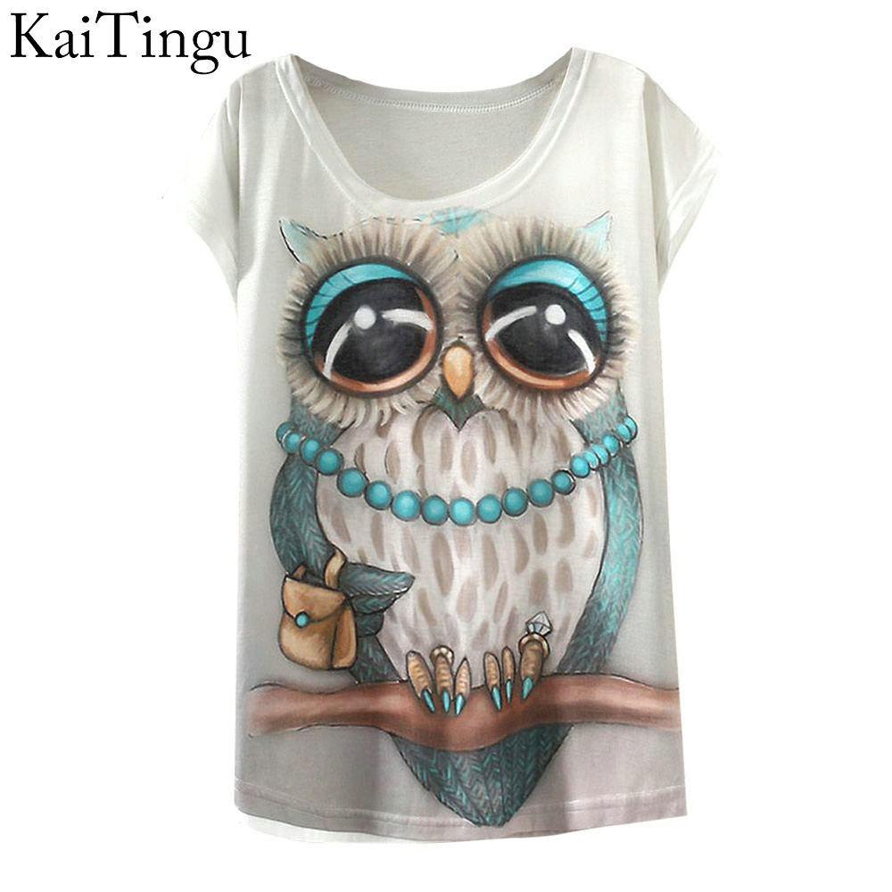 2015 New Fashion Vintage Spring Summer T Shirt Women Clothing Tops Animal Owl Print T-shirt Printed White Woman Clothes(China (Mainland))