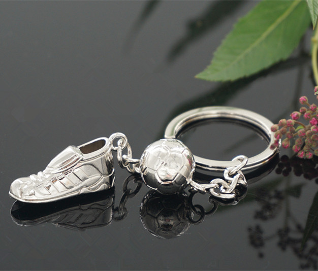 High Quality Soccer Shoes Football Ball Stainless Steel Metal Keychain Key Chains Ring Gift(China (Mainland))
