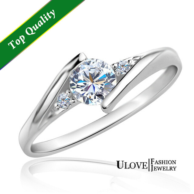 40% off Wedding Rings for Women Crystal Engagement 925 Sterling Silver Simulated Diamond Ring Wholesale Free Shipping Ulove J045(China (Mainland))