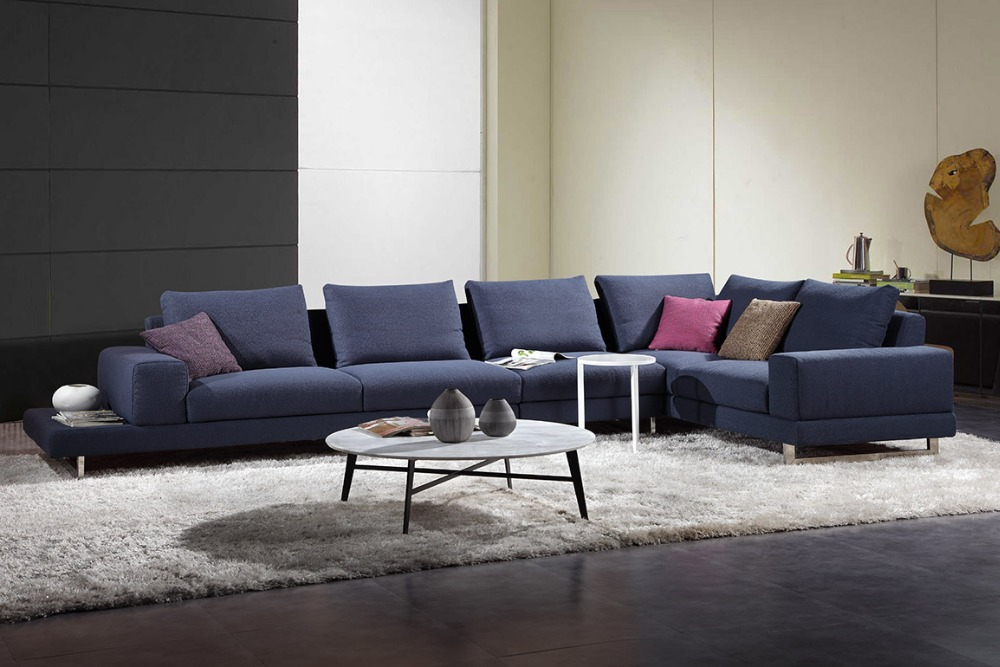 Promotion 100% polyester living room sectional sofa with stainsteel legs MCNO9824(China (Mainland))
