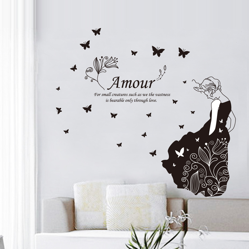Amour Butterfly Flower Girl Vinyl Wall Stickers Home Decor
