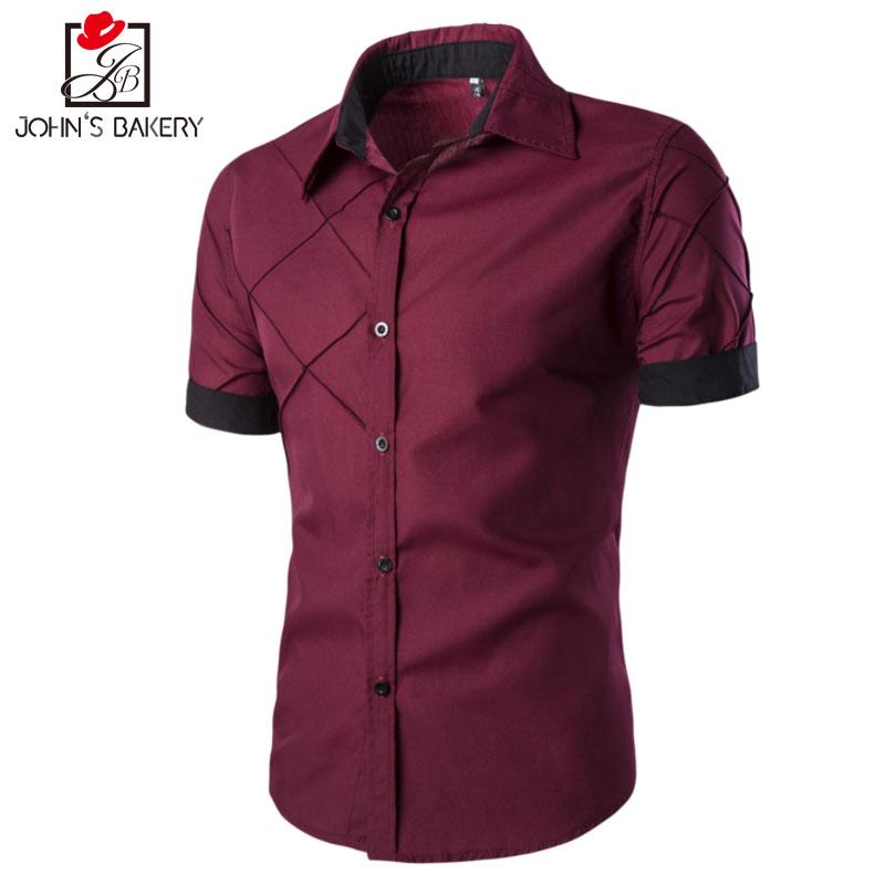 Men Shirt Short Sleeve 2017 Brand Shirts Men Casual Shirt Slim Fit Lattice Alignment Design Chemise Mens Camisas Dress Shirts 3X(China (Mainland))