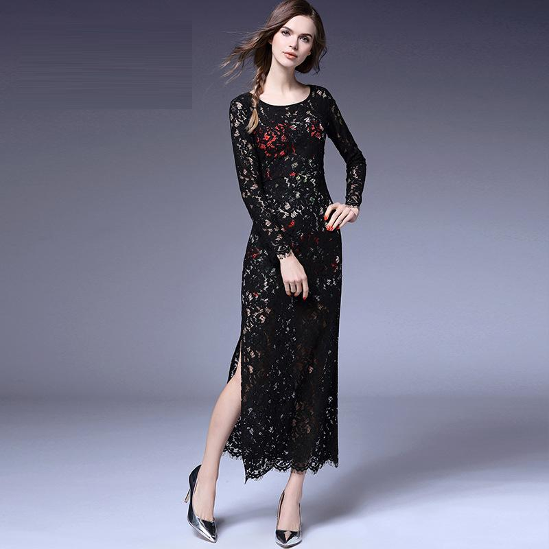 Sexy Hot New Fashion Spring 2016 Women Hollow Out Crochet Lace Long Sleeve Lace Slit Long Dress Black Dinner Party Clothing XLОдежда и ак�е��уары<br><br><br>Aliexpress