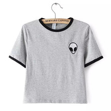Buy 2016 Summer Printed Design Aliens T Shirts Women UFO Short Sleeve Tee Shirt Cotton Female Students T-shirts Teenagers for $4.75 in AliExpress store