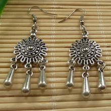 HOT Fashion Genuine Handmade National style 20pairs Tibetan Silver Tassels Charms Earrings 60x18mm DIY  Z1900 Free Shipping(China (Mainland))