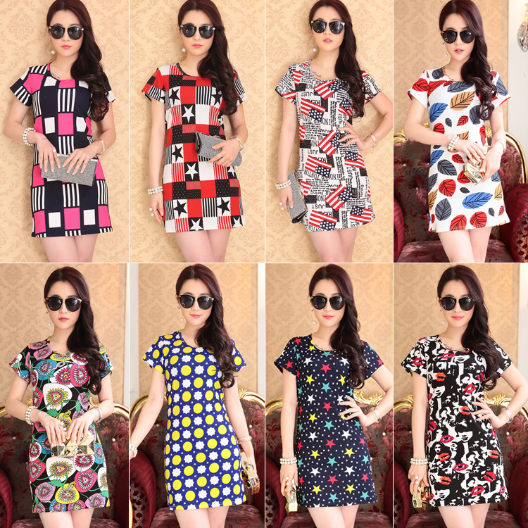 Women Dress Sexy 2016 Summer Dress Ice Silk Loose Short Sleeved T-shirt Printed Middle T-shirt Girl Party Dresses -- WD042001(China (Mainland))