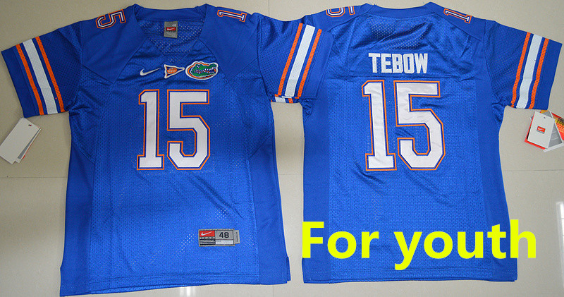 youth kids free shiping A+++ quality Florida Gators Tim Tebow 15 College(China (Mainland))