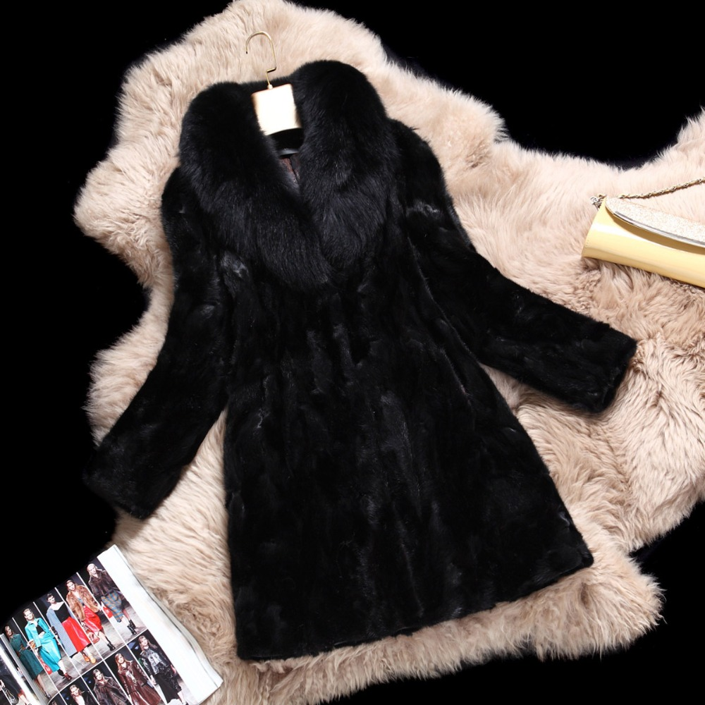 New Winter Lady Fashion Genuine Natural Mink Fur Coat Jacket With Fox Fur Hooded Black Women's Fur long sections Outerwear Coats(China (Mainland))