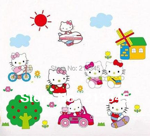 Stickers hello kitty chambre details about hello kitty sticker personnalis - Stickers chambre parentale ...