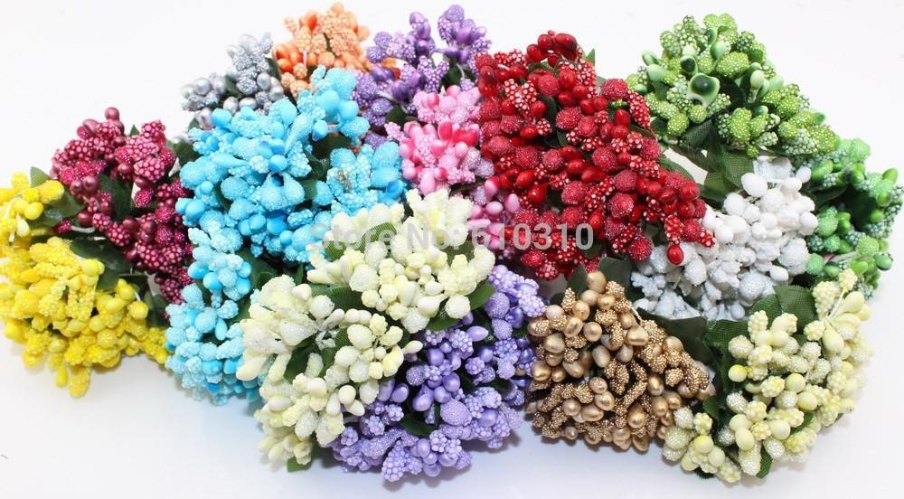 Multicolor Scrapbooking Flower buds bouquet stamen wedding box decoration berry stamen(144pcs/lot)(China (Mainland))