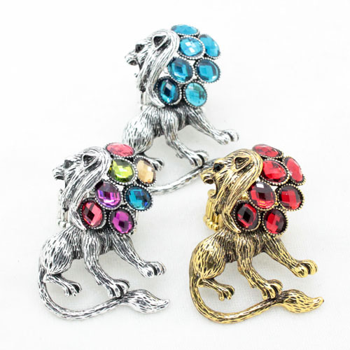 2014new high quality fashion cool colorful lion fancy rings for women and men lovely elastic costume cute rings frees shipping(China (Mainland))