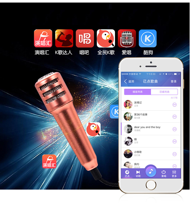 mini usb microphone K fans for computer smartphone pc capacitor noise Kara OK wired microphone and mic stand(China (Mainland))