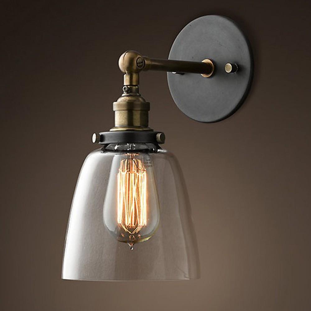 Фотография Wall Sconce Iron DIY Wall Light Loft Vintage Industrial Edison Glass Shade Loft Coffee Bar  Warehouse Lamp Edison E27 Bulbs