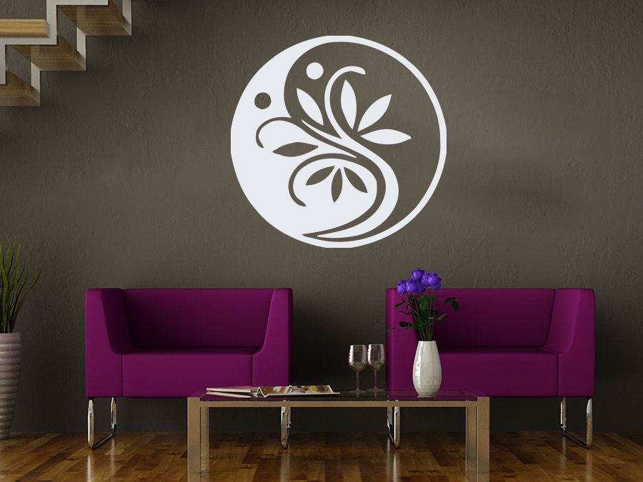 Yoga Wall Sticker Ying Yang Flower Ornament Removeable Mural Art Wall Decal Sticker Yoga Class Room Coffee Shop Decoration(China (Mainland))