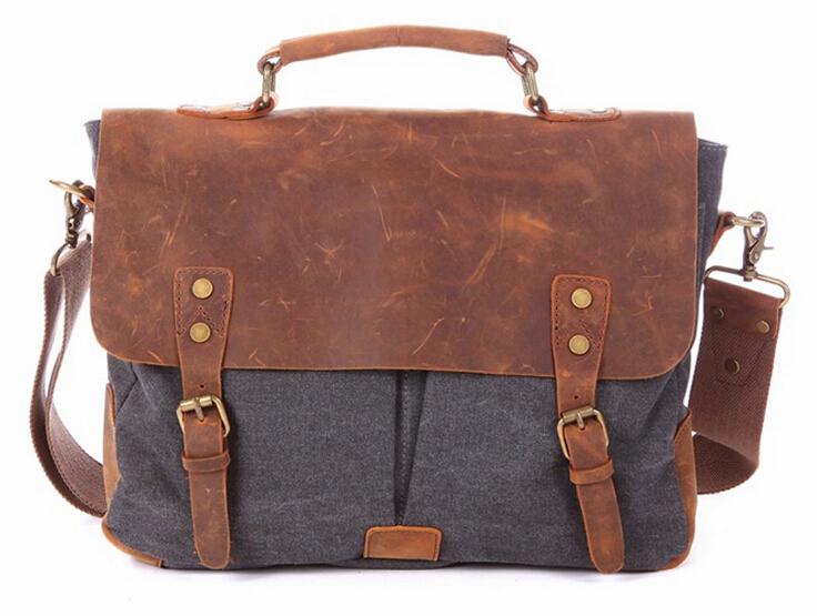 High Quality Vintage Fashion Casual Canvas Crazy Horse Genuine Leather Women Men Handbag Shoulder Messenger Bag Bags For Ladies<br><br>Aliexpress