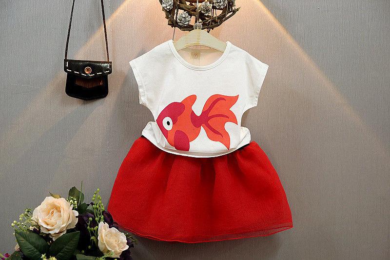 2Pcs Baby Girls Princess Kids Tops T shirt Skirts Summer Party Girls Clothing Set Girls Clothes Set 1-6Years(China (Mainland))