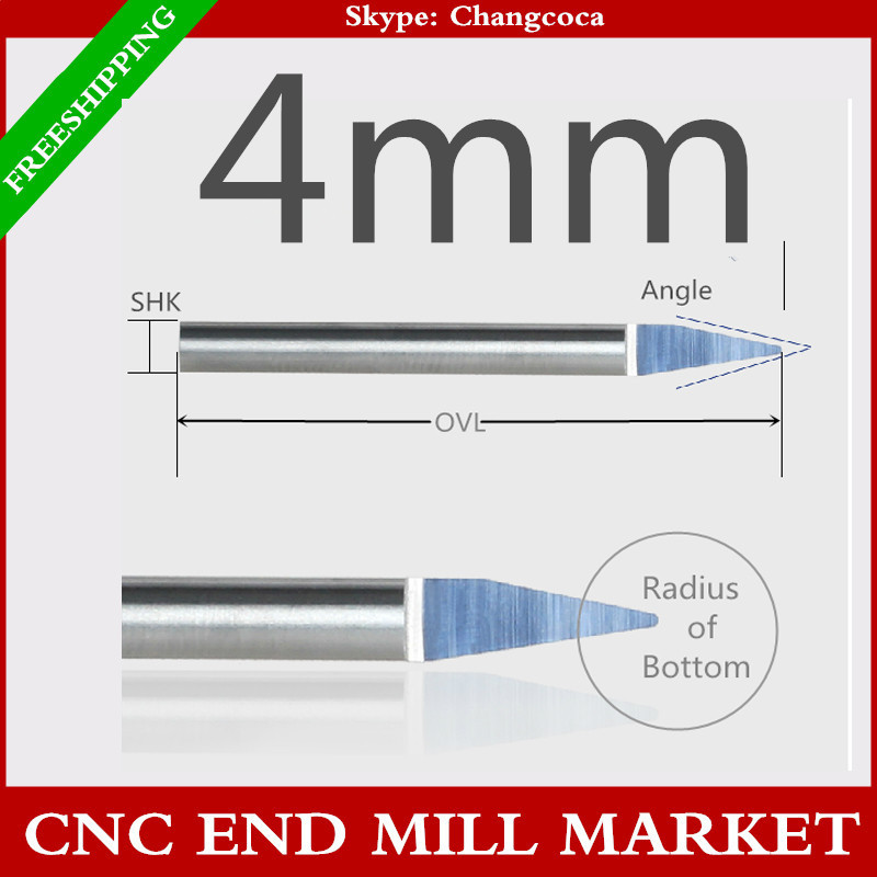 4mm,10pcs,CNC machine solid carbide end mills,woodworking ball nose end milling tools,Mahogany,PVC,acrylic,density board relief(China (Mainland))