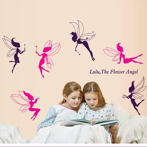 6 цветок ангел изображение милый искусство стена наклейки наклейка комната дети девочка детские декор 7022