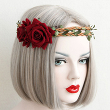 Red Double Rose Flower Vine Crown Hair Wreath