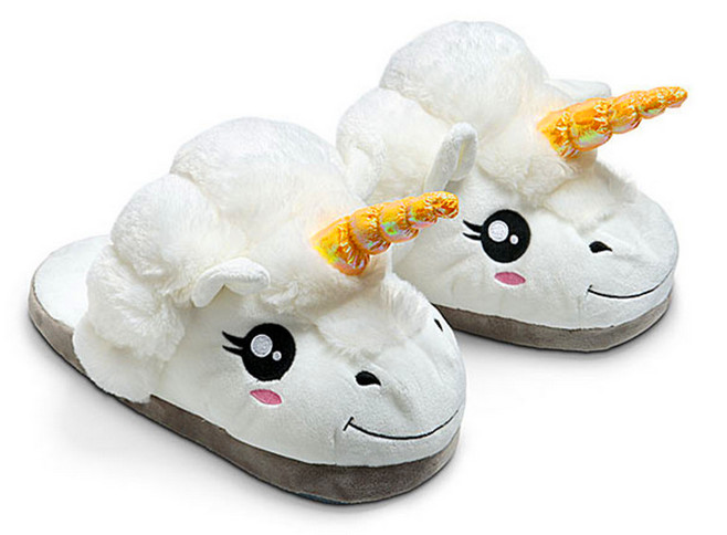 Cosplay cartoon Plush Unicorn Slippers for Grown Ups Winter Warm Indoor Slippers for women men Creative Funny Home Soft Shoes(China (Mainland))