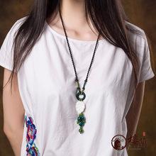 Original design Loulan national trend vintage necklace long design all-match female shell ceramic pendant accessories(China (Mainland))