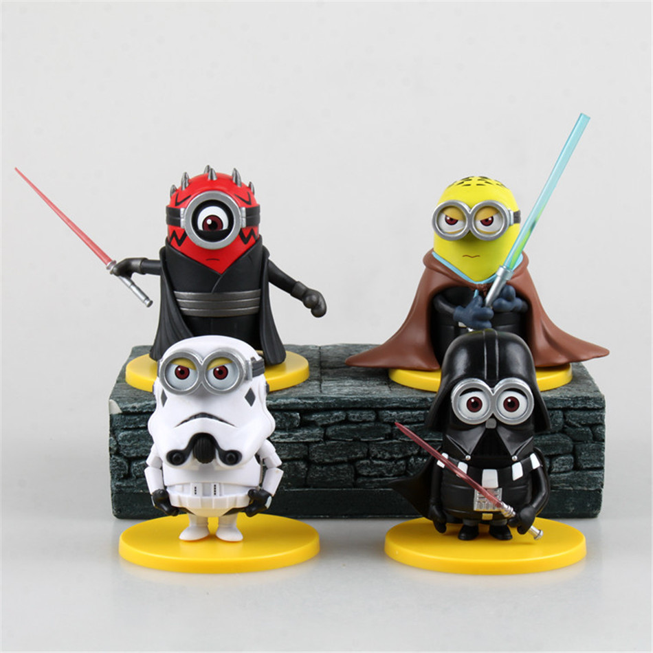 Star War Toy Set 4PCS/set Minions toys yellow doll 3D eyes peluche Minion despicable me 2 Kid Toys Vinyl Boxed for Gift 0319(China (Mainland))