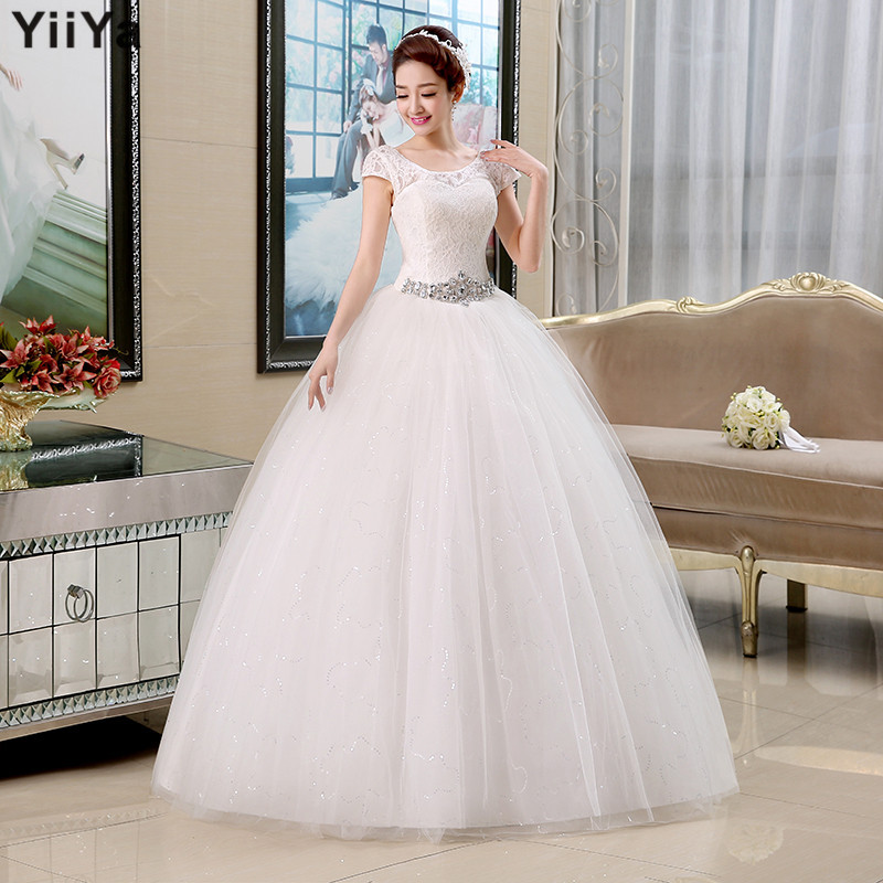Free Shipping 2015 New Arrival Cheap Wedding Dresses Lace White Romantic Wedd