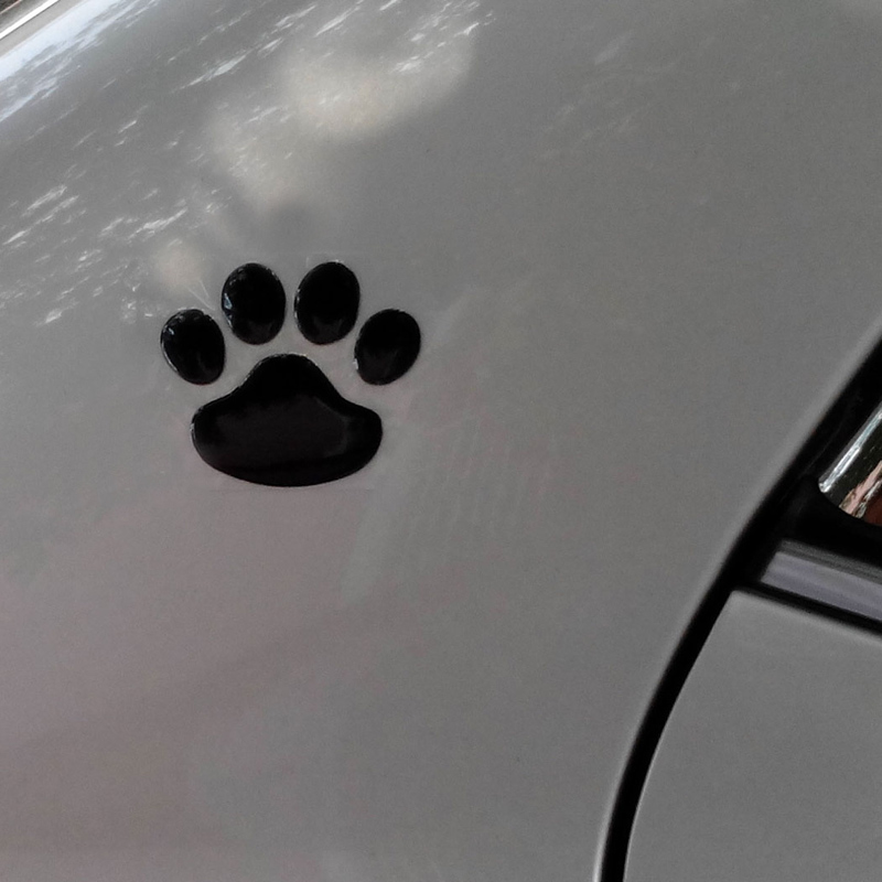 Black arrive!! 1 Pair, Dog paw,Dog Footprint 3D PVC Car Sticker,Nick cover sticker, 5 lots more 20% off,Free Shipping(China (Mainland))