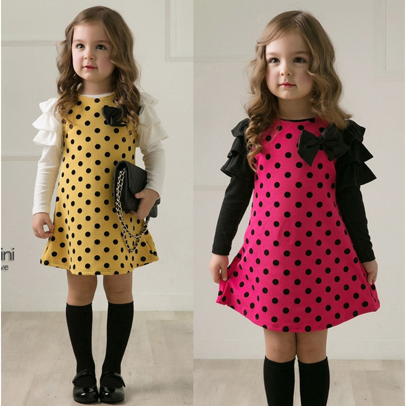 Free shipping New arrival baby girl autumn dress Fashion dot design princess spring warm dress Children's dress erbaby(China (Mainland))