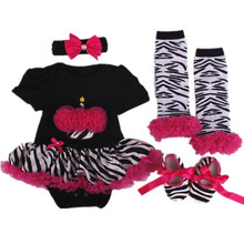 0-12 Months Baby clothing sets Christmas girl Dresses Zebra Cake Black Romper Tutu Dress+Shoe+Colorful socks+Headband 4pcs/sets
